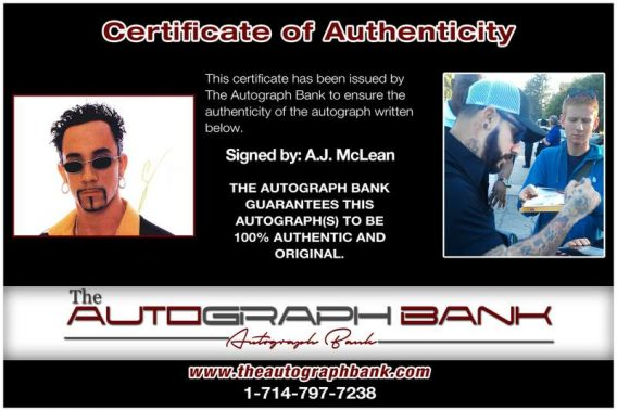 A.J. Mclean certificate of authenticity from the autograph bank