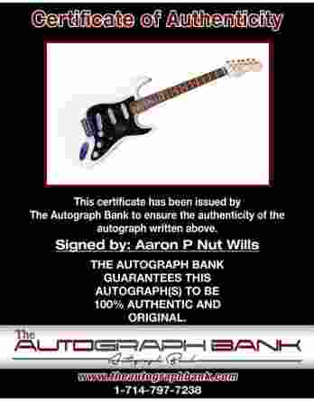 P Nut certificate of authenticity from the autograph bank