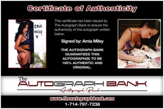 Amia Miley certificate of authenticity from the autograph bank