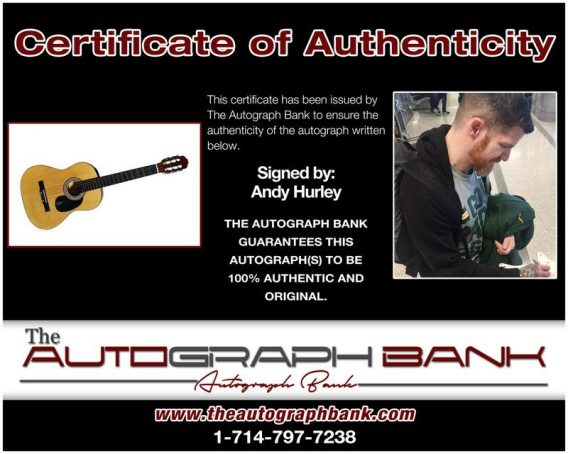Andy Hurley certificate of authenticity from the autograph bank