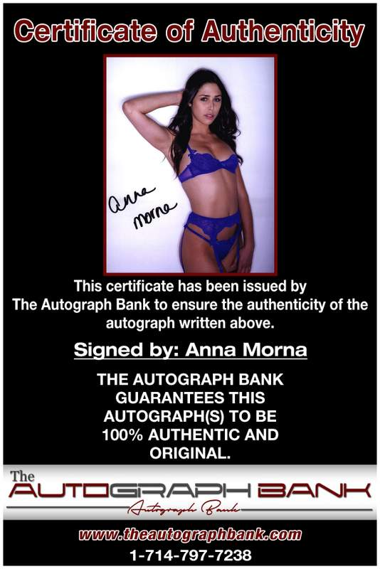 Anna Morna certificate of authenticity from the autograph bank