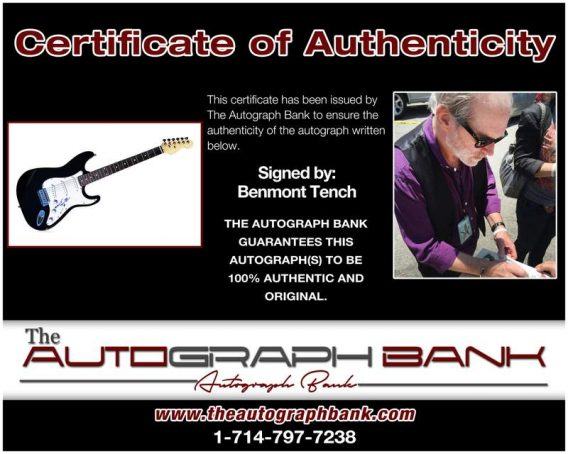 Benmont Tench certificate of authenticity from the autograph bank