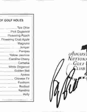 Bo Van Pelt authentic signed Masters Score card