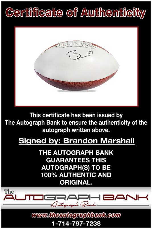 Brandon Marshall certificate of authenticity from the autograph bank