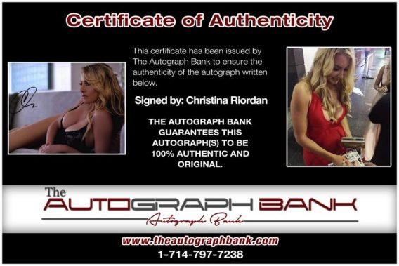 Christina Riordan certificate of authenticity from the autograph bank