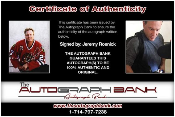 Jeremy Roenick certificate of authenticity from the autograph bank
