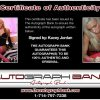 Kacey Jordan certificate of authenticity from the autograph bank