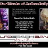 Kaylea Smith certificate of authenticity from the autograph bank