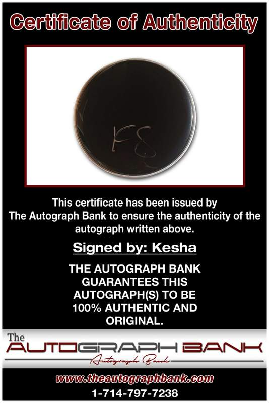 Kesha certificate of authenticity from the autograph bank