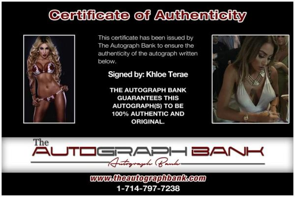 Khloe Terae certificate of authenticity from the autograph bank
