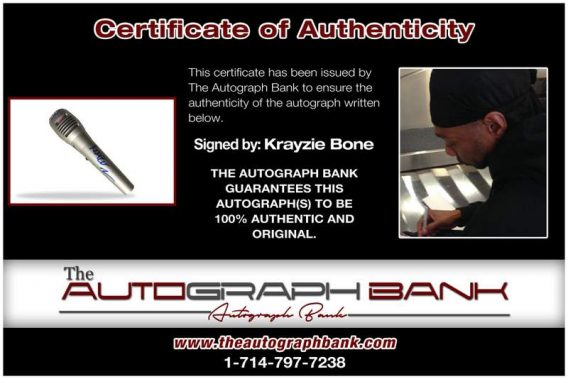 Krayzie Bone certificate of authenticity from the autograph bank