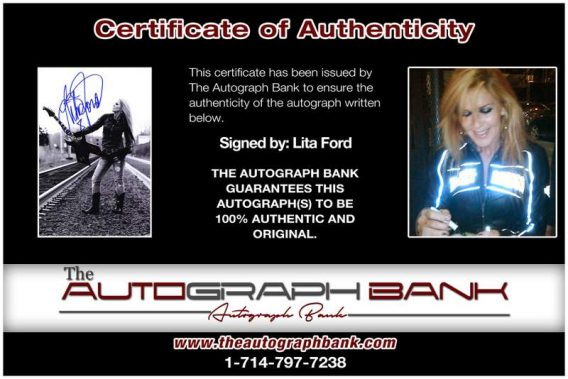 Lita Ford certificate of authenticity from the autograph bank
