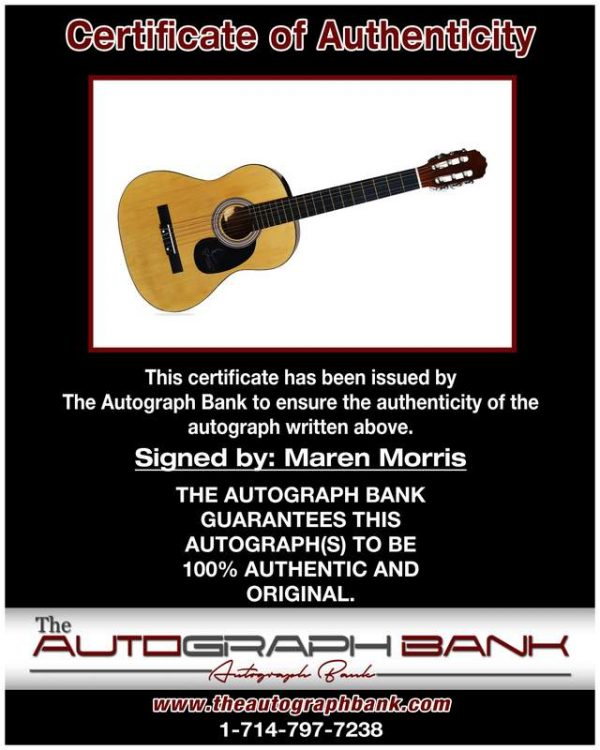 Maren Morris certificate of authenticity from the autograph bank