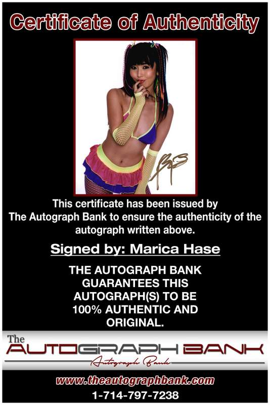 Marica Hase certificate of authenticity from the autograph bank