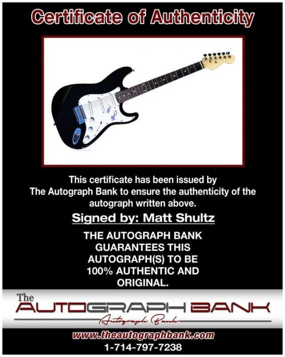 Matt Shultz certificate of authenticity from the autograph bank