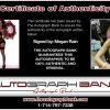 Megan Rain certificate of authenticity from the autograph bank