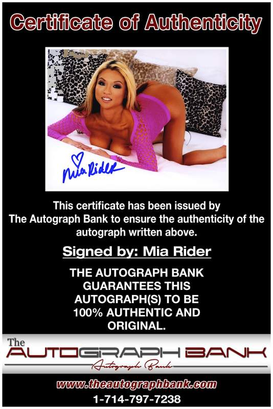 Mia Rider certificate of authenticity from the autograph bank