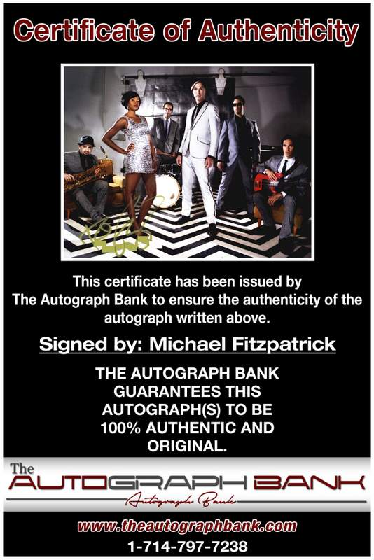 Michael Fitzpatrick certificate of authenticity from the autograph bank