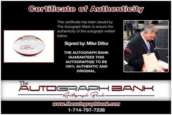 Mike Ditka certificate of authenticity from the autograph bank