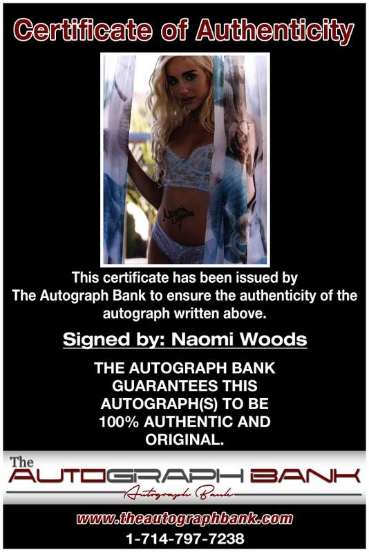 Naomi Woods certificate of authenticity from the autograph bank