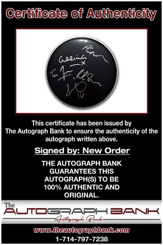 New Order certificate of authenticity from the autograph bank
