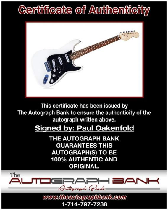 Paul Oakenfold certificate of authenticity from the autograph bank