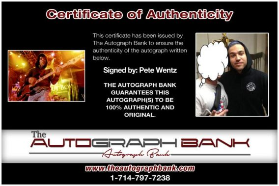Pete Wentz certificate of authenticity from the autograph bank