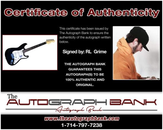 Rl Grime certificate of authenticity from the autograph bank