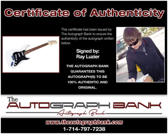 Ray Luzier certificate of authenticity from the autograph bank