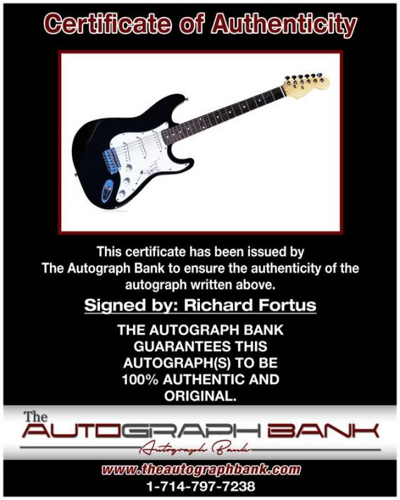 Richard Fortus certificate of authenticity from the autograph bank