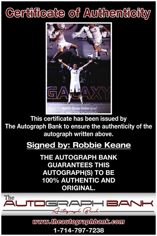 Robbie Keane certificate of authenticity from the autograph bank
