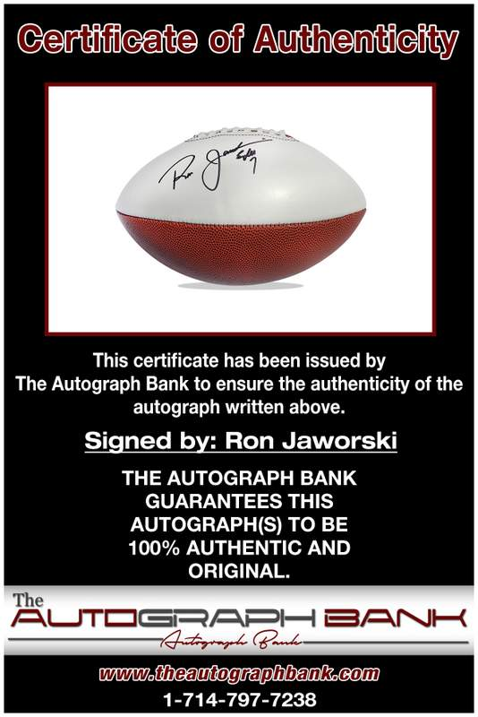 Ron Jaworski certificate of authenticity from the autograph bank