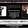 Ryan Lochte certificate of authenticity from the autograph bank