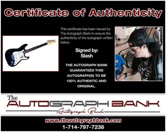 Slash certificate of authenticity from the autograph bank