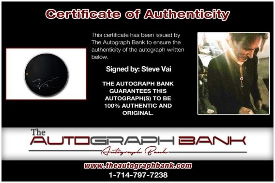 Steve Vai certificate of authenticity from the autograph bank