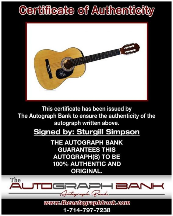Sturgill Simpson certificate of authenticity from the autograph bank