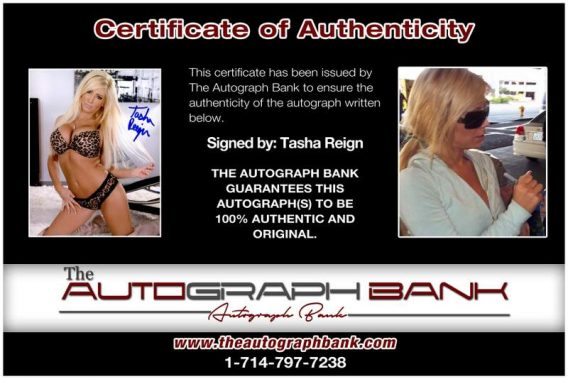 Tasha Reign certificate of authenticity from the autograph bank