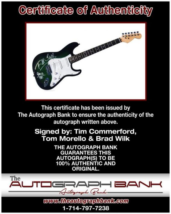 Rage Against the Machine certificate of authenticity from the autograph bank