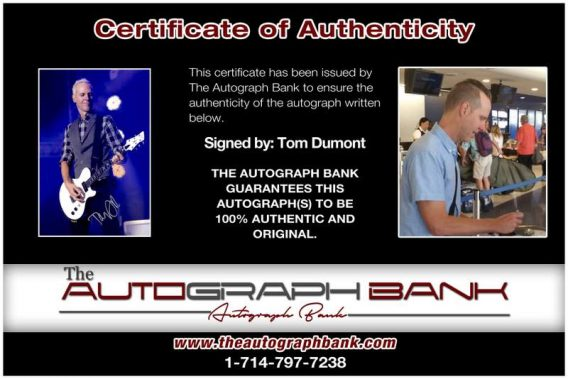 Tom Dumont certificate of authenticity from the autograph bank