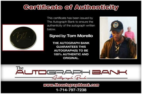 Tom Morello certificate of authenticity from the autograph bank
