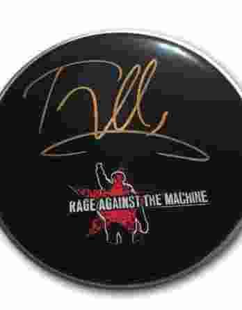 Tom Morello authentic signed drumhead
