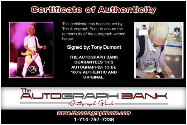 Tony Dumont certificate of authenticity from the autograph bank