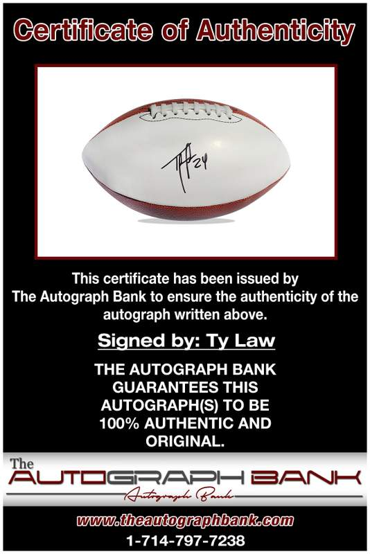 Ty Law certificate of authenticity from the autograph bank