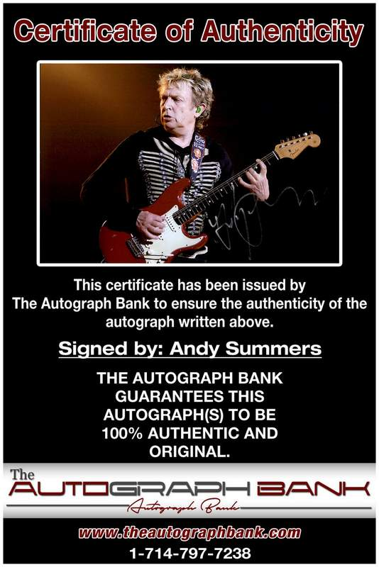 Andy Summers certificate of authenticity from the autograph bank