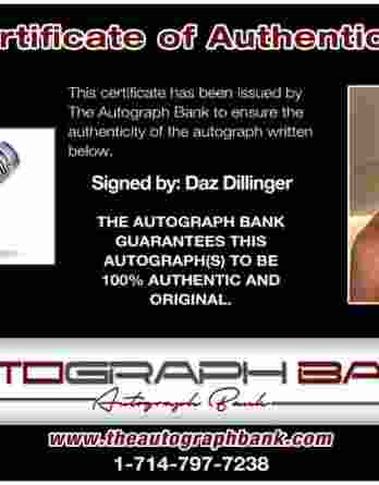 Daz Dillinger certificate of authenticity from the autograph bank