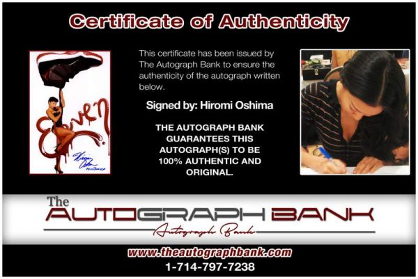 Hiromi Oshima certificate of authenticity from the autograph bank