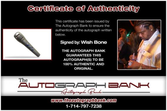 Wish Bone certificate of authenticity from the autograph bank