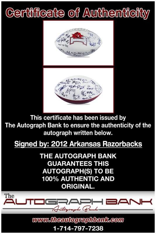 Arkansas Razorbacks proof of signing certificate