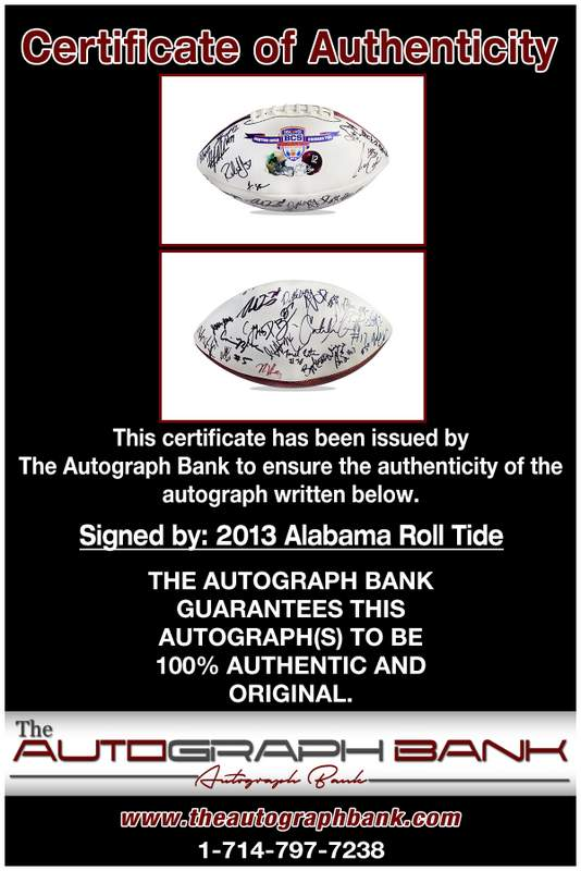 Alabama Roll Tide proof of signing certificate