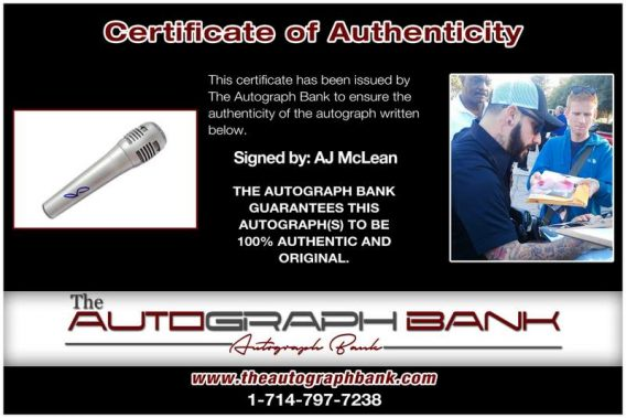 Aj Mclean certificate of authenticity from the autograph bank